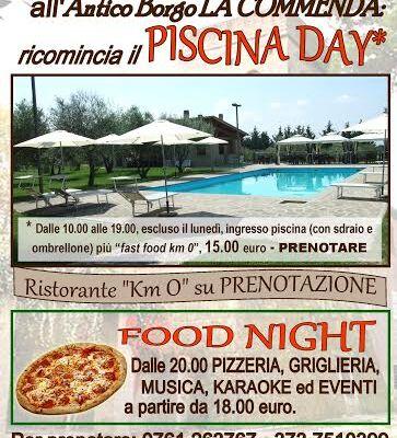 """Voglia d'estate? c'è chi, sfida il clima """"fuori stagione""""  ed inaugura nel week end il suo """"Piscina Day & Pizza Night""""."""