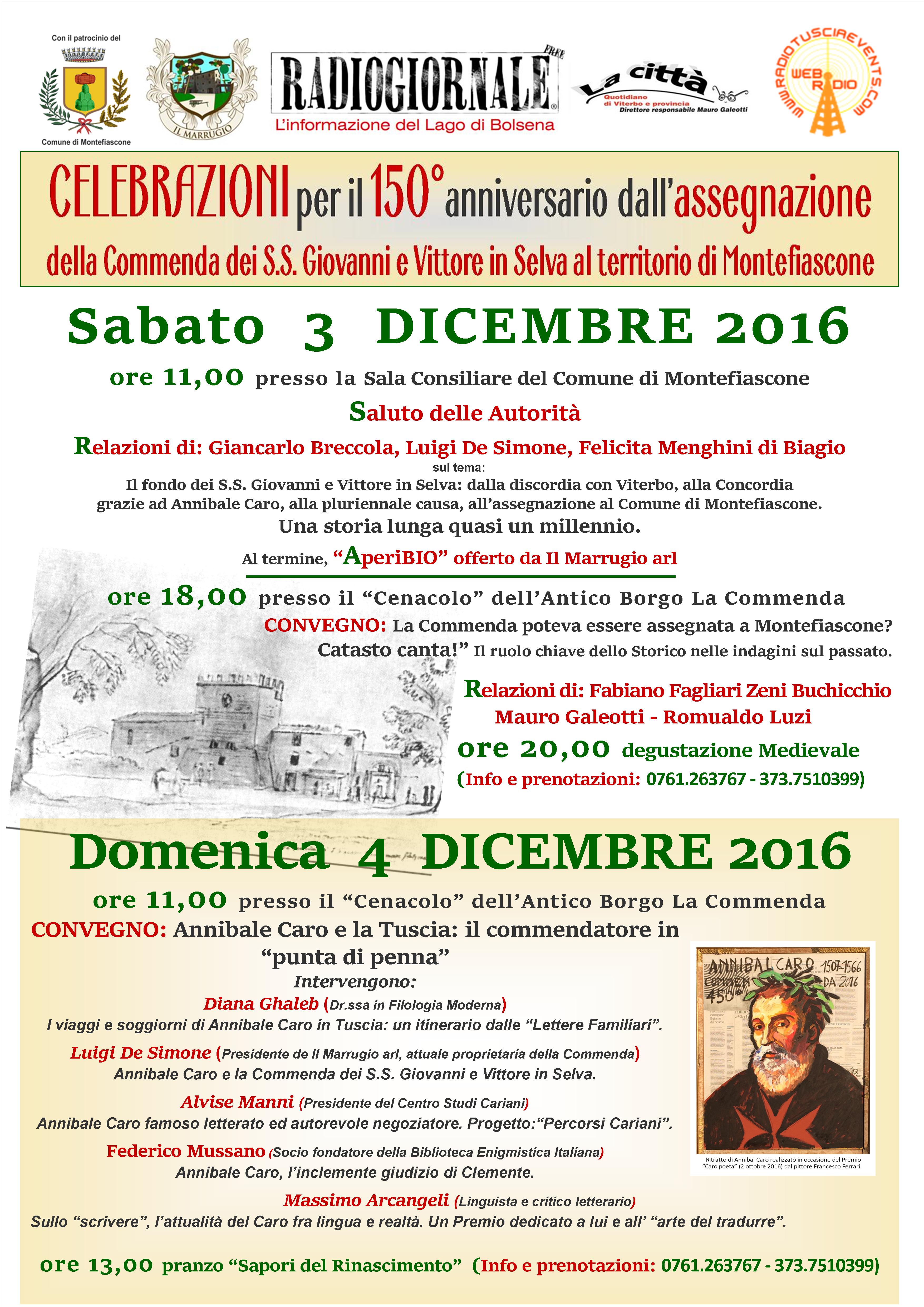 150°anniversario dall'assegnazione  dellaCommenda dei S.S. Giovanni e Vittore in Selva al territorio di Montefiascone