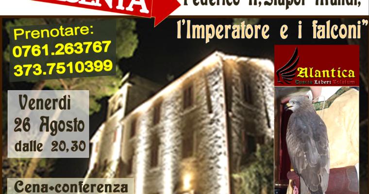 """All'Antico Borgo La Commenda venerdì 26 agosto riprendono i Convivi:  """"Federico II, Stupor Mundi, l'Imperatore e i falconi"""""""